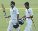 Bhuvneshwar Kumar and Rituraj Singh walk back at stumps after an unbeaten 100-run stand, Central Zone v North Zone, Duleep Trophy, semi-final, Hyderabad, 3rd day, October 16, 2012