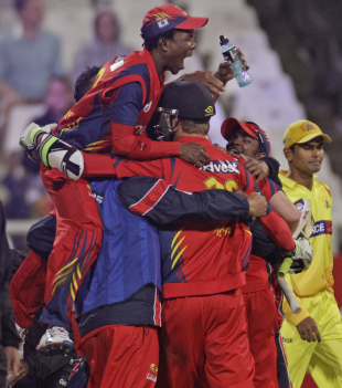 Lions celebrate after a thrilling win, Chennai Super Kings v Lions, Group B, Champions League Twenty20, Cape Town, October 16, 2012