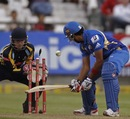 Rohit Sharma was out bowled to Azeem Rafiq, Mumbai Indians v Yorkshire, Group B, Champions League T20, Cape Town, October 18, 2012