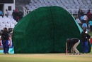Ground staff cover the pitch at Newlands, Mumbai Indians v Yorkshire, Group B, Champions League T20, Cape Town, October 18, 2012