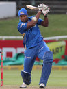 Kieron Pollard has some unusual headgear while batting, Mumbai Indians v Yorkshire, Group B, Champions League T20, Cape Town, October 18, 2012