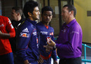 Delhi Daredevils' Unmukt Chand chats with umpire Johan Cloete, Auckland v DD, Group A, Champions League T20, Durban, October 19, 2012