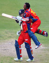 Jean Symes and Thami Tsolekile after the Lions' victory, Lions v Yorkshire, Champions League T20, Group B, Johannesburg, October 20, 2012