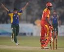 Tabish Khan celebrates his second wicket, Jermaine Lawson, Pakistan All Star XI v International XI, Karachi, October 20, 2012