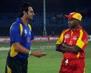 Captains Shoaib Malik and Sanath Jayasuriya before the game, Pakistan All Star XI v International XI, Karachi, October 21, 2012