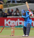 Heino Kuhn loses his off stump to L Balaji, Kolkata Knight Riders v Titans, Champions League T20, Cape Town, October 21, 2012