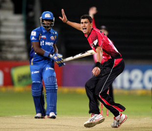 Mitchell Starc picked up two wickets, Mumbai Indians v Sydney Sixers, Champions League T20, Durban, October 22, 2012