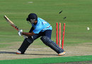 Ronnie Hira is bowled attempting an unorthodox shot, Auckland Aces v Perth Scorchers, Champions League T20, Centurion, October 23, 2012