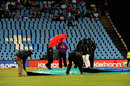 The covers are adjusted in Centurion, Titans v Delhi, Champions League T20, Group A, Centurion, October 23, 2012