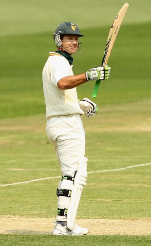 Ricky Ponting celebrates his century, Victoria v Tasmania, Sheffield Shield, Melbourne, 2nd day, October 24, 2012