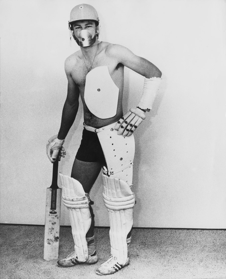 Ian Davis models the prototype of the modern protective gear in 1978, when batsmen were still stuffing towels and magazines down their trousers as defence against furious pace