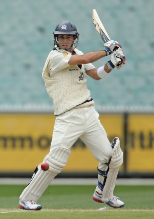Glenn Maxwell cuts during his half-century, Victoria v Tasmania, Sheffield Shield, Melbourne, 3rd day, October 25, 2012