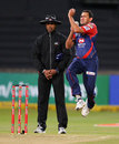 Ajit Agarkar delivers the ball, Delhi Daredevils v Lions, 1st semi-final, Champions League T20, Durban, October 25, 2012