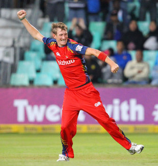 Chris Morris celebrates a wicket, Delhi Daredevils v Lions, 1st semi-final, Champions League T20, Durban, October 25, 2012