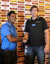 Angelo Mathews and Jacob Oram at a press conference, Colombo, October 26, 2012