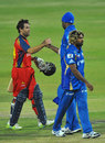 Neil McKenzie is congratulated by Kieron Pollard, Lions v Mumbai Indians, Group B, Champions League Twenty20, Johannesburg, October 14, 2012