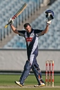 David Hussey celebrates his century, Victoria v Tasmania, Ryobi Cup, Melbourne, October 28, 2012
