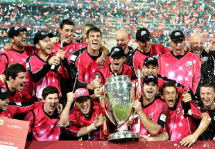 Sydney Sixers celebrate their CLT20 triumph, Lions v Sydney Sixers, final, CLT20, Johannesburg, October 28, 2012