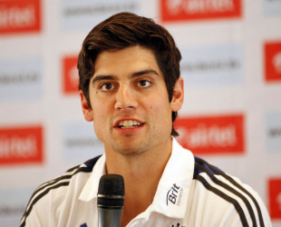 Alastair Cook speaks at a press conference, Mumbai, October 29, 2012
