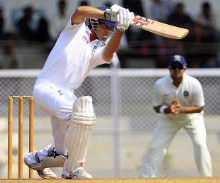 Alastair Cook drives through the covers, India A v England XI, tour match, Mumbai, 2nd day, October 31, 2012