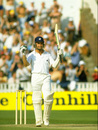 Tim Robinson celebrates his hundred, England v Australia, 5th Test, Edgbaston, 3rd day, August 17, 1985