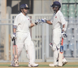 Sachin Tendulkar and Ajinkya Rahane during their double-century stand, Mumbai v Railways, Group A, Ranji Trophy 2012-13, Mumbai, November 2, 2012
