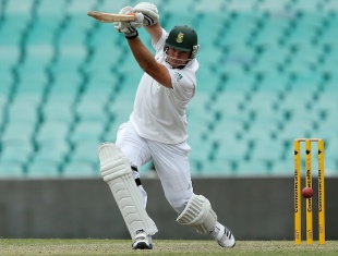 Graeme Smith drives during his half-century, Australia A v South Africans, Sydney, 2nd day, November 3, 2012