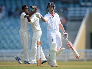 Jonathan Trott was dismissed for 28, Mumbai A v England XI, Mumbai, 1st day, November 3, 2012