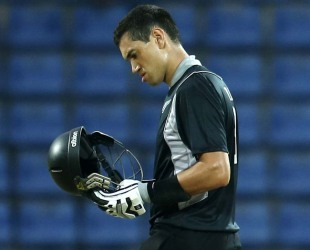 Ross Taylor checks his helmet after being hit by Lasith Malinga, Sri Lanka v New Zealand, 2nd ODI, Pallekele, November 4, 2012