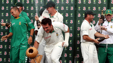 The champagne flows after South Africa's series win