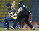 Mahela Jayawardene plays a ball behind the wicketkeeper, Sri Lanka v New Zealand, 2nd ODI, Pallekele, November 4, 2012