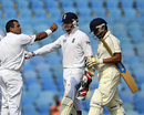Samit Patel celebrates the dismissal of Sufiyan Shaikh, Mumbai A v England XI, tour match, Mumbai, 3rd day, November 5, 2012