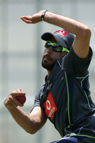 Pakistan-born legspinner Fawad Ahmed bowls at Australia's net session, Brisbane, November 6, 2012