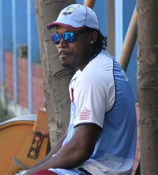 Chris Gayle at a training session, Dhaka, November 7, 2012