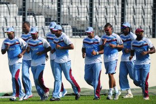 West Indies players jog, Dhaka, November 7, 2012