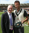 Allan Border presented Rob Quiney with his baggy green cap, Australia v South Africa, first Test, Brisbane, November 9, 2012