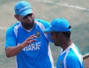 Saqlain Mushtaq speaks to Elias Sunny during a training session, Mirpur, November 9, 2012
