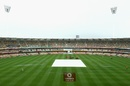 The square under covers on the second morning, Australia v South Africa, 1st Test, Brisbane, 2nd day, November 10, 2012