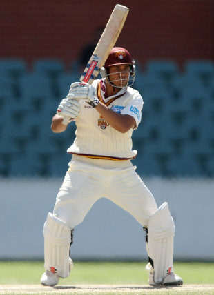 Usman Khawaja plays the ball through the off side, South Australia v Queensland, Sheffield Shield, October 26, 2012