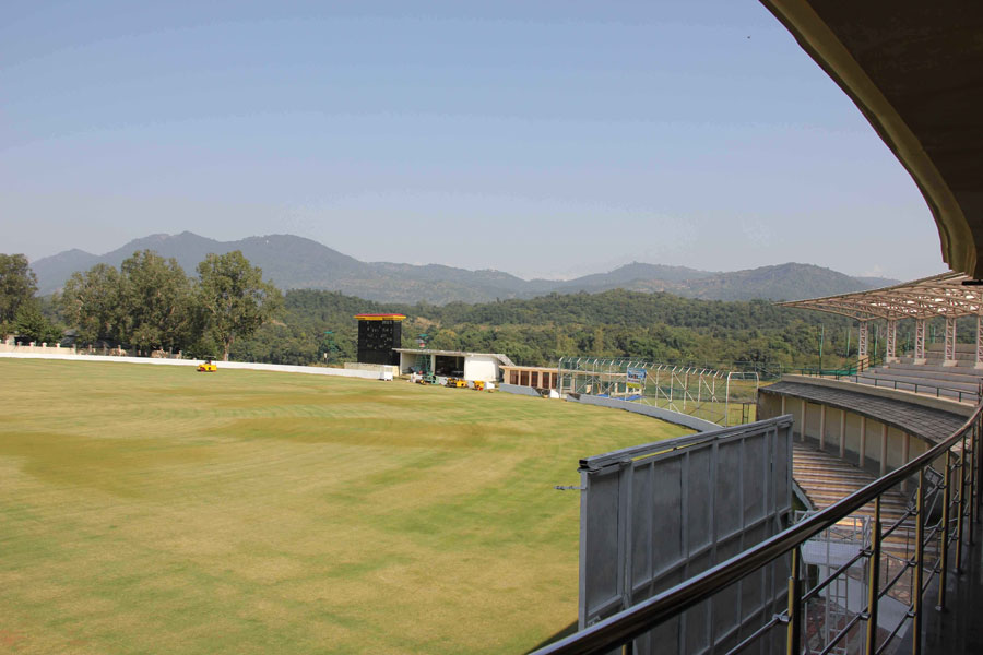 A view of the Atal Behari Vajpayee Stadium in Nadaun, Himachal Pradesh