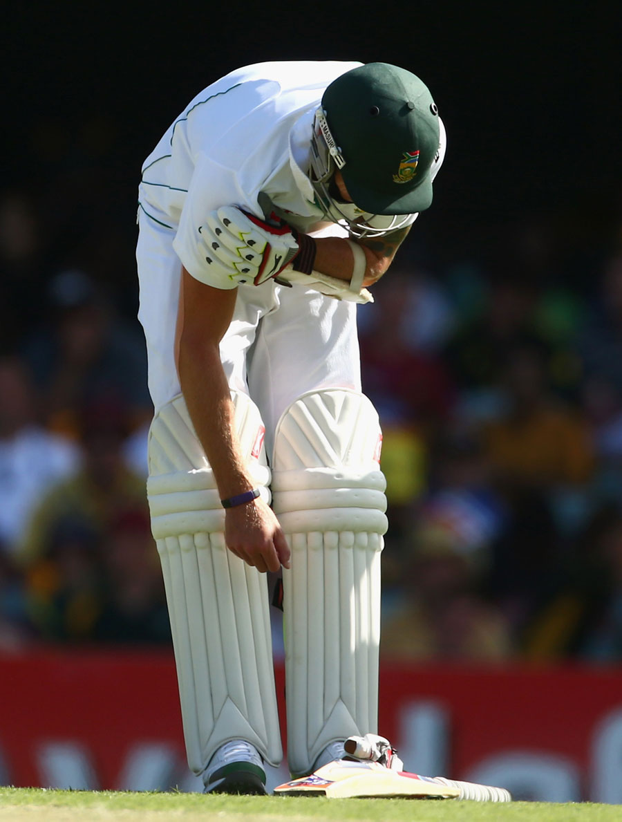 Dale Steyn was hit on the bowling shoulder by a short ball
