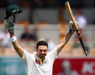 Ed Cowan celebrates his maiden Test century, Australia v South Africa, 1st Test, 4th day, Brisbane, November 12, 2012