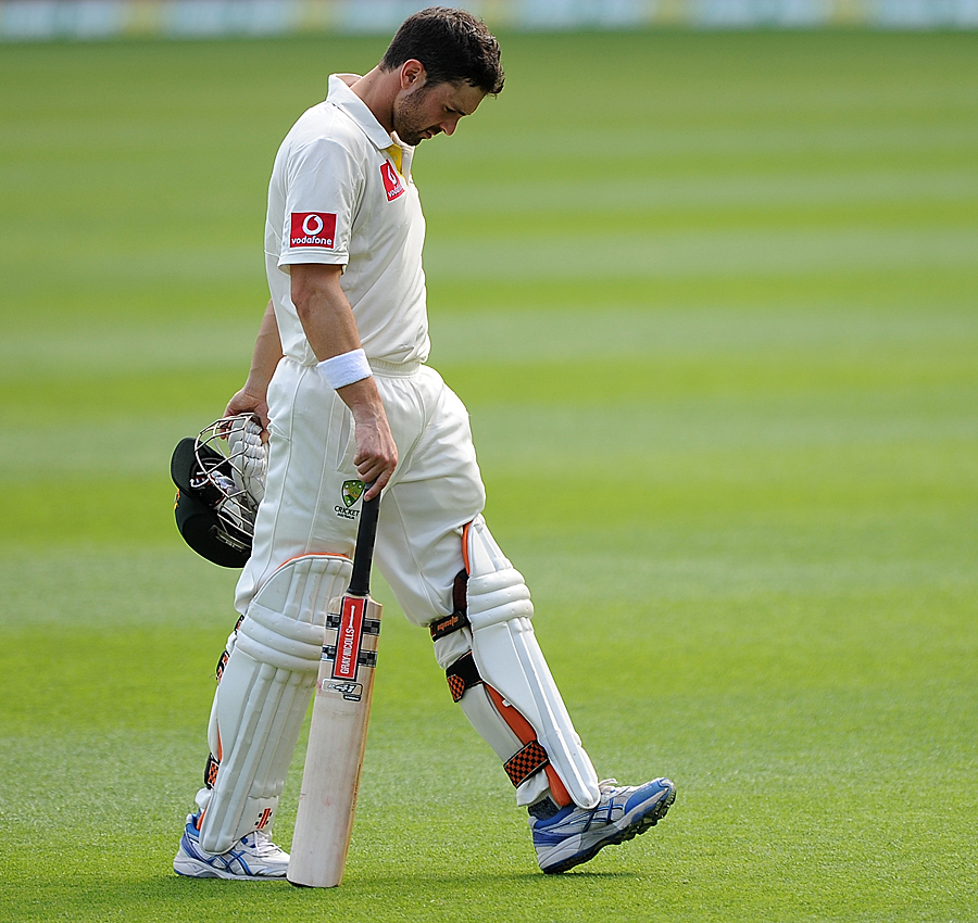 Ed Cowan walks back after being dismissed in an unlucky fashion