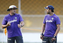 India's bowling coach Joe Dawes talks to Yuvraj Singh, Ahmedabad, November 12, 2012