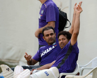 Virender Sehwag and Sachin Tendulkar at a practice session, Ahmedabad, November 13, 2012