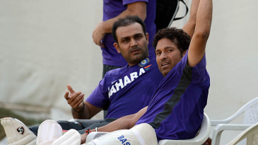 Virender Sehwag and Sachin Tendulkar at a practice session