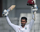 Denesh Ramdin celebrates his third Test hundred