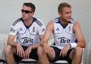 Graeme Swann and Stuart Broad take a break from training