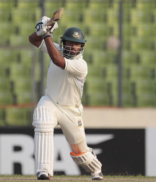 Tamim Iqbal plays an off drive, Bangladesh v West Indies, 1st Test, Mirpur, 2nd day, November 14, 2012