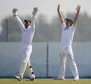 Alastair Cook and Matt Prior go up in appeal, Haryana v England XI, Ahmedabad, 4th day, November 10, 2012